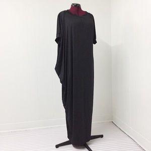 3XL Silky Long Short Sleeved Black Caftan